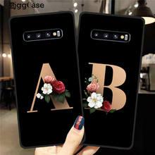 Letra do alfabeto flores impressão floral preto caso de telefone para samsung galaxy s8 s9 s10 s11 plus lite capa de telefone casos de silicone macio
