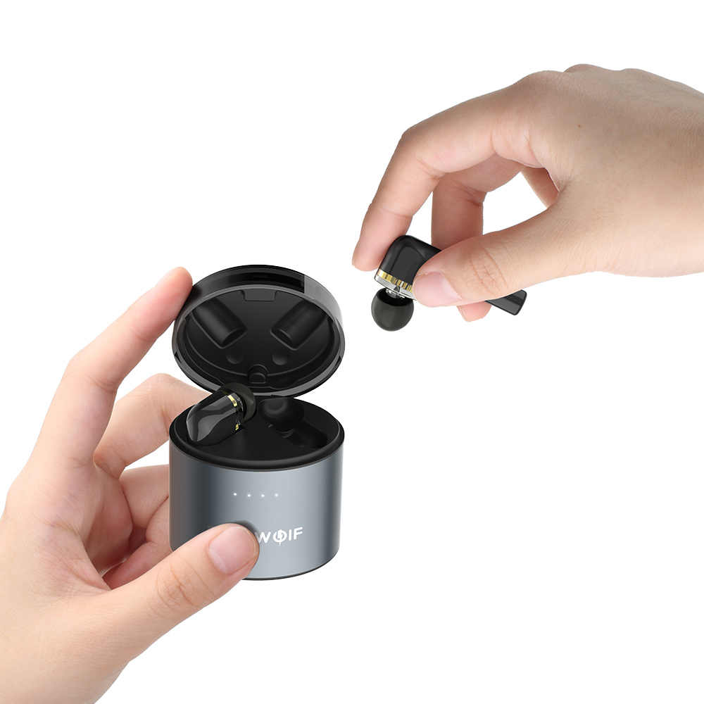 BlitzWolf BW-FYE8 bezprzewodowy bluetooth TWS True 5.0 słuchawki zestaw słuchawkowy Dual Dynamic Driver bez użycia rąk słuchawki douszne Hifi IPX5 długi uchwyt
