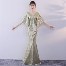 Evening Dress Sexy Double V-neck Evening Dresses Floor Length Sequin Robe De Soiree 2019 Half-sleeve Formal Evening Gown F300(China)