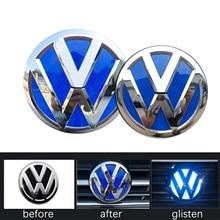 Car Front Grill + Rear Trunk Lid Badge Emblem Logo Glisten Reflective Styling Sticker Decor For VW Volkswagen Tiguan L