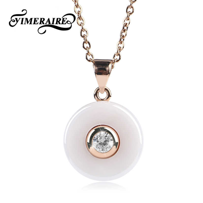 TUHE Elegant White Ceramic Round Pendant Necklace For Women With One Shining Crystal Gold And Rose Gold Fashion Wedding Jewelry