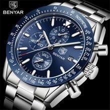 BENYAR 2020 Mens Watches Top Luxury Brand Fashion Steel Quartz Chronograph Watch Men Military Waterproof Clock Relogio Masculino