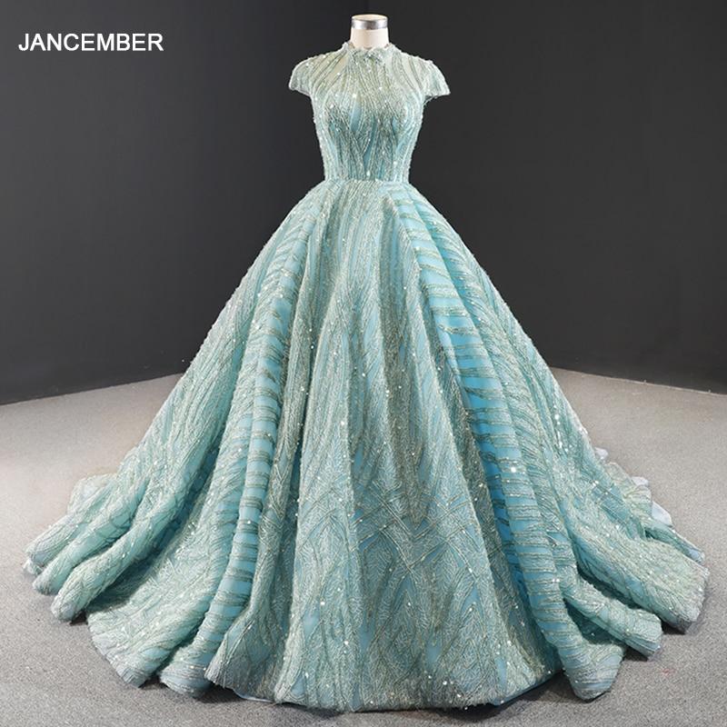 J66981 Jancember Blue Formal Dress High Neck Cap Sleeve Ball Gown Floor Length Sequined Lace Evening Платье вечернее короткое