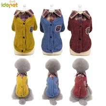 Pet Sweater Dog Clothes For Large Small Dogs Uniform Cat Clothing Coat Jacket Chihuahua Plaid Shirt