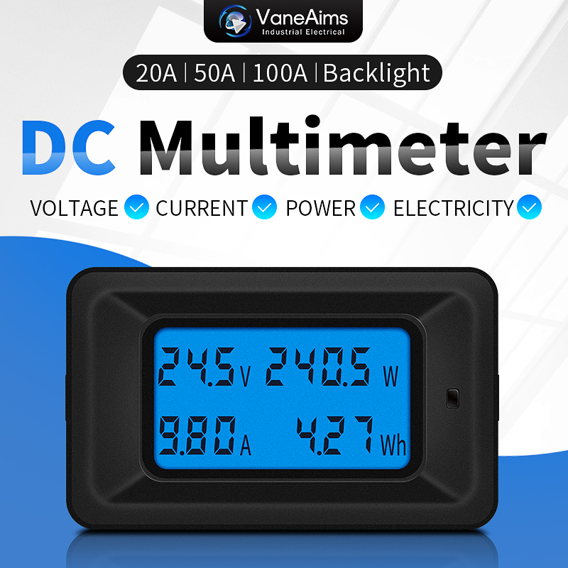 20A/50A/100A Digital DC 8-100V Voltmeter Ammeter LCD 4 in 1 DC Voltage Current Power Energy Meter Detector Amperimetro Shunt