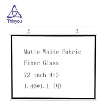 Thinyou Matte White Fabric Fiber Glass Projector Screen 72 inch 4:3 for Outdoor Indoor Home Theater Full HD 3D