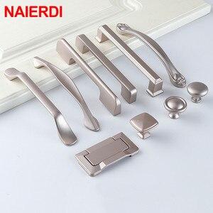 NAIERDI Aluminum Alloy Pearl Nickel Cabinet Handles Drawer Knobs Kitchen Cupboard Door Pulls Furniture Handle Cabinet Hardware