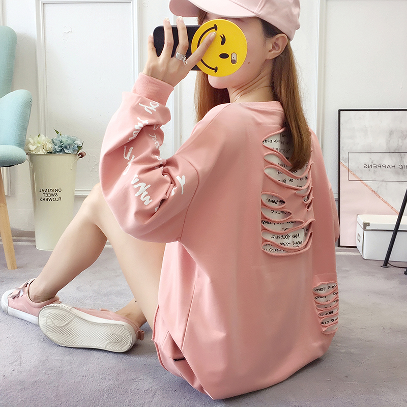 2019 autumn new Korean version of the XL T-shirt women's thin section long-sleeved loose hole wild T-shirt shirt women 55