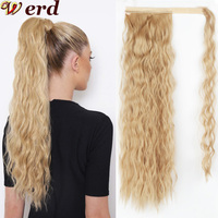100PCS/Lot Corn Wavy Long Ponytail Synthetic Hair Piece Wrap On Clip Hair Extensions Ombre Brown Ponytail Blonde Fake Hair