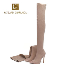 KATELVADI 2020 New Winter Sexy Over The Knee Boots Pointed Toe Rivets 12.5CM High Heels Sock Size 34-45 K-589