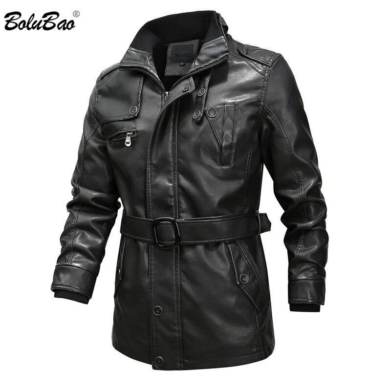 BOLUBAO Men's Leather Jackets Winter Brand Men Washed Thick PU Leather Jacket Male Locomotive Faux Leather Jacket Coat