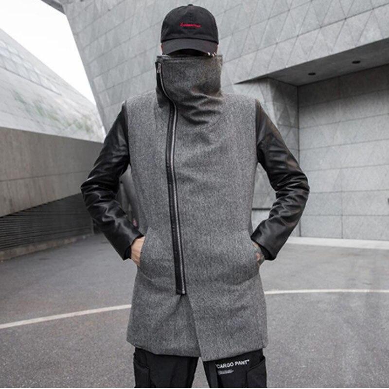 Homens outono inverno PU de retalhos de couro lã trincheira casaco estilo Coreano casaco longo fino homem inclinado zíper