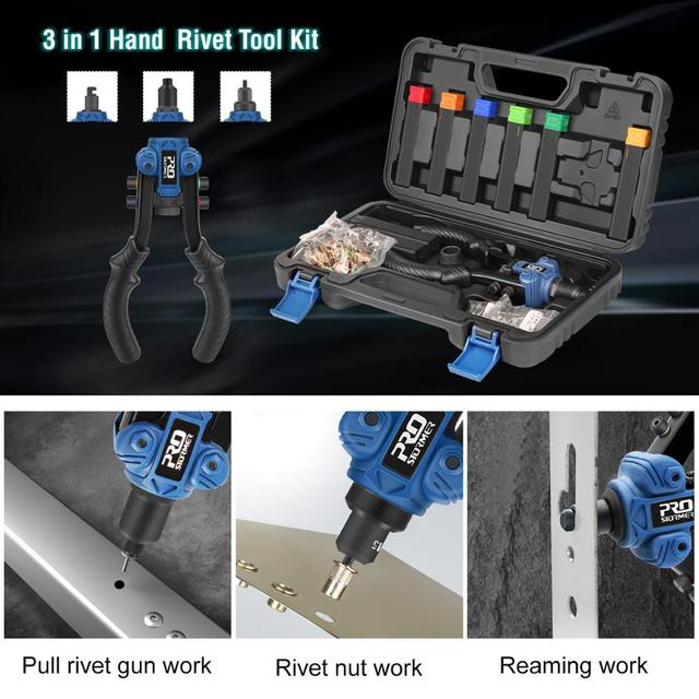 3 in 1 Hand Rivet Nut Guns Riveter of Sleeve Nuts Threaded Rivet Tool for Auto M3/4/5/6/8/10 Multi Reaming by PROSTORMER 3