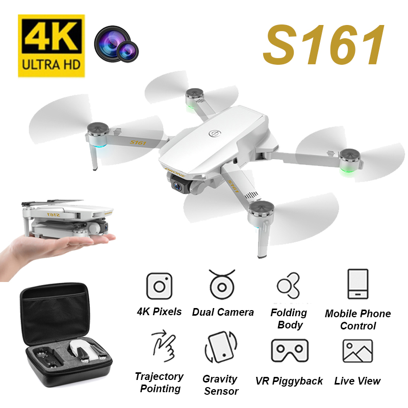 CSJ S161 Camera Dron 4K HD Camera Foldable Quadcopter One-Key Return FPV Drone RC Helicopter Quadrocopter Kid s Toys