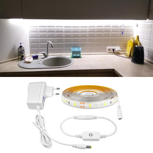 Closet Touch Switch Dimmable LED Strip AC 220V To DC 12 v led light Waterproof Diode Tape Adhesive Ruben LED Lamp Strips Kitchen