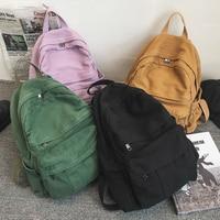 Mochila informal Vintage para mujer, bolso de viaje a la moda, de alta capacidad, Color sólido, escolar, con cremallera, 2021