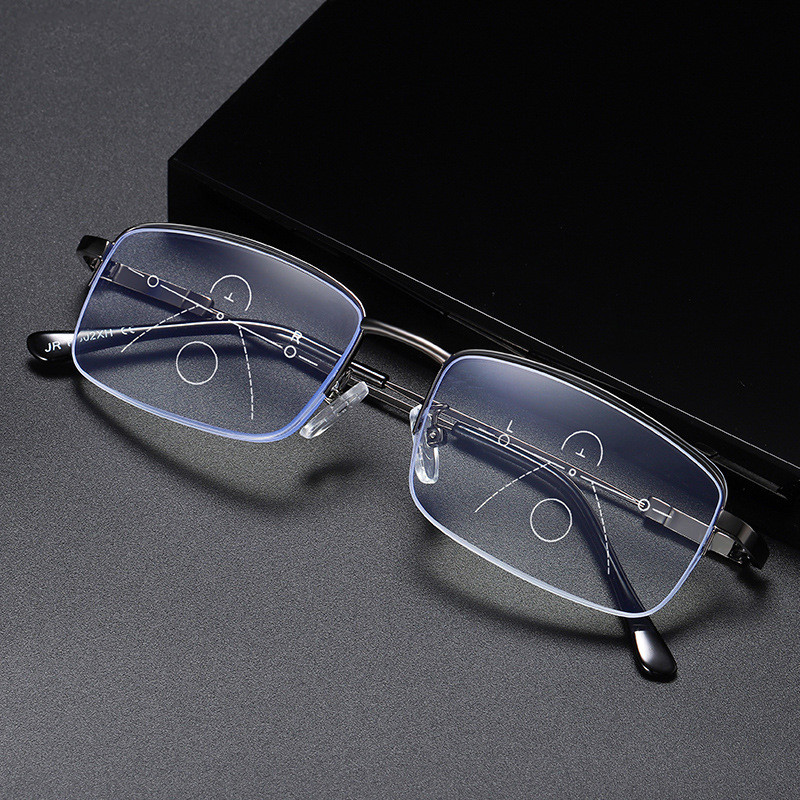 SEEMFLY NEW Elastic Legs Multifocal Progressive Reading Glasses Men Anti Blue Light Radiation Half Frame Prescription Eyeglasses