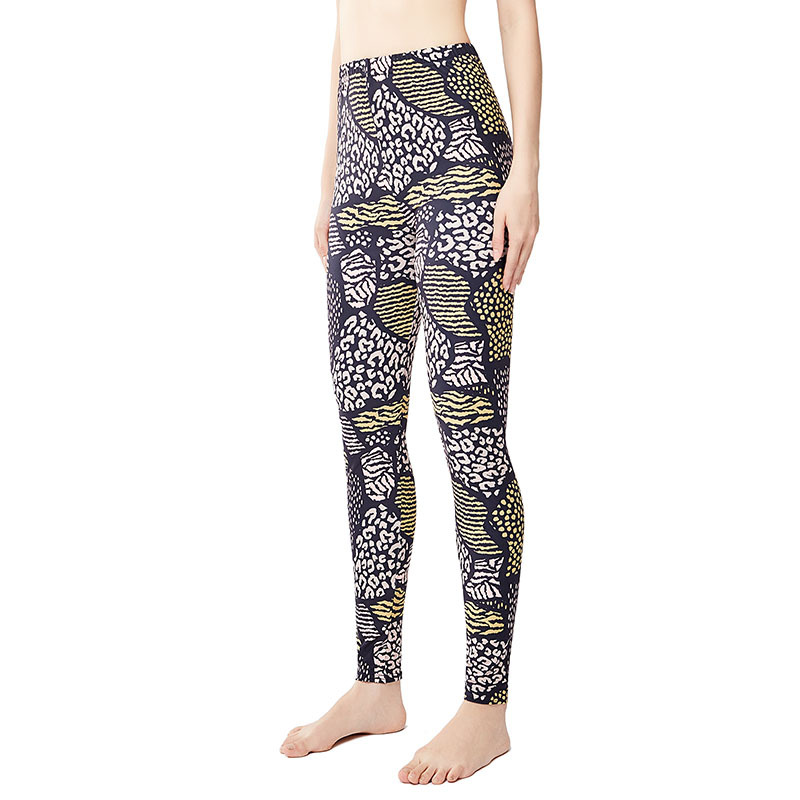 9039 Europe And America Brown Leopord Pattern Elasticity Large Size Yoga Pants Women's Leggings