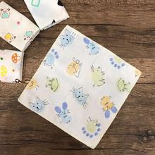 2PCS/pack Cotton double gauze small square towel children cartoon anime cotton for wipe sweat  handkerchief