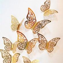12 pièces 4D creux papillon autocollant mural décoration pour la maison bricolage Stickers muraux fête de mariage décors de mariage papillon enfants chambre décors