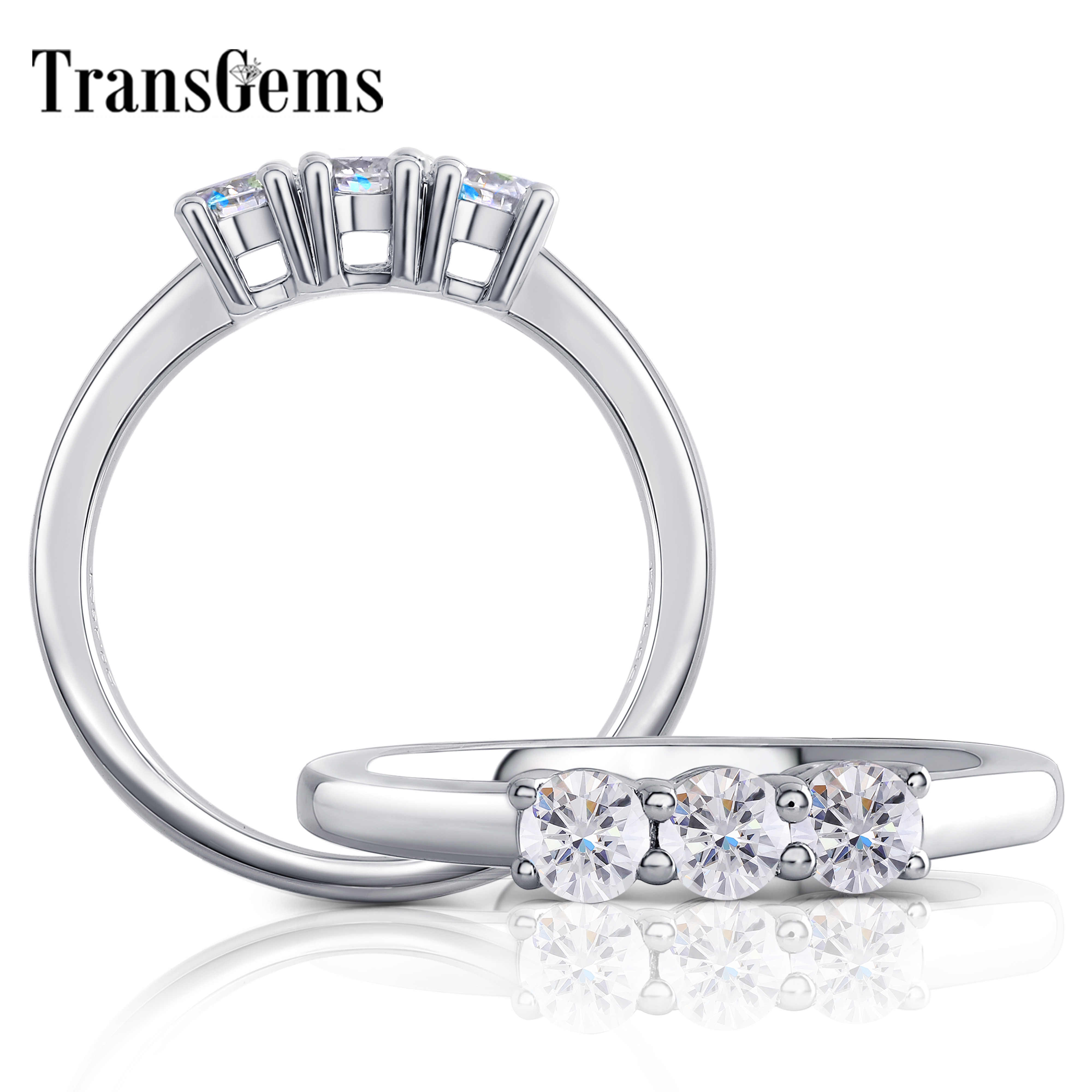 Transgems New ARRIVAL Sterling Silver S925 3.5 มม.G-H-I สี Moissanite แหวนแต่งงานสำหรับผู้หญิงแหวนเงิน