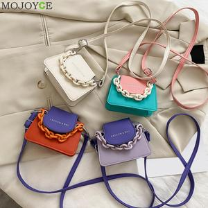 Youth Ladies Simple Versatile Bag Women Mini Crossbody Bag Acrylic Chain Lady Hit Color PU Leather Shoulder Pouch