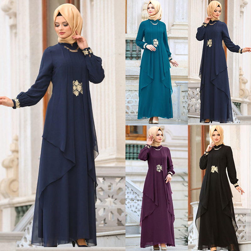 2019 Indonesia Chiffon Hijab Bangladesh Fake Two Pieces Dress Dubai Black Abaya For Women Pakistan Muslim Dress Islamic Clothing