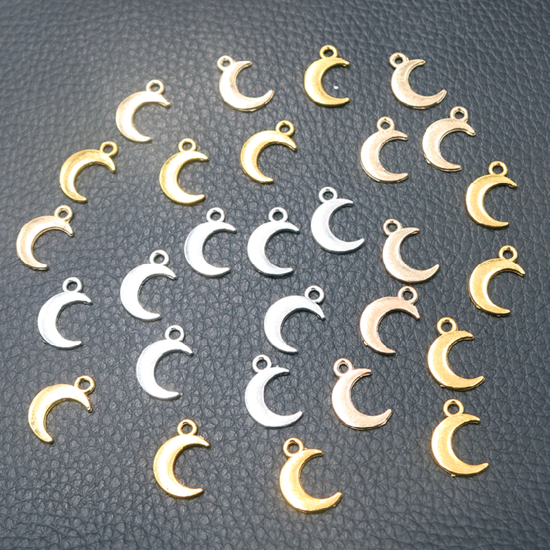 50pcs Silver Plated Cute Mini Moon Pendants Earrings Bracelet Accessories DIY Charms For Jewelry Carfts Making 14*10mm A601