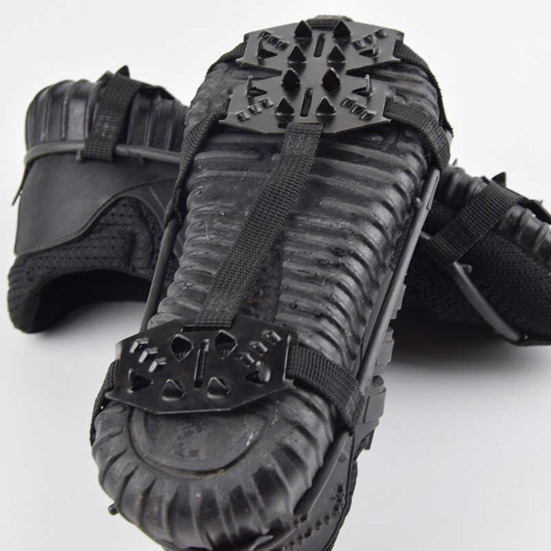 De alta calidad 24 dientes agarre hielo para zapatos de los hombres y las mujeres no-deslizamiento crampones agarres con puntas zapatos para la nieve y la escalada en hielo tacos