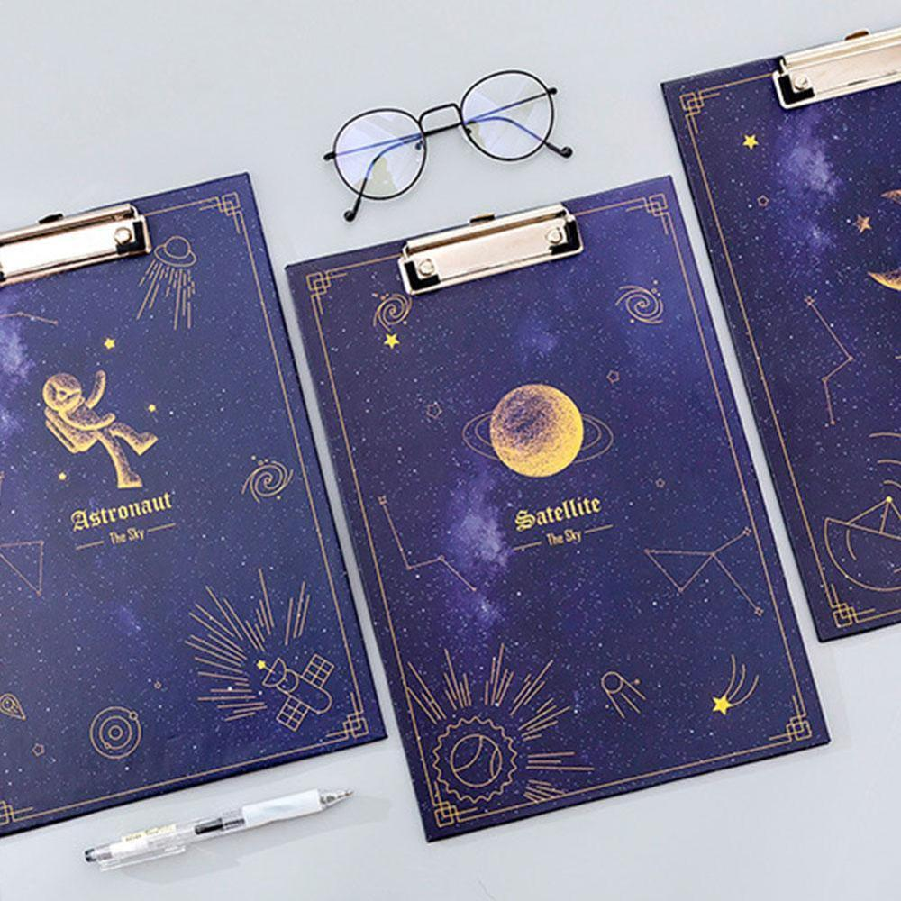 1PC A4 Starry Sky Clipboard Clip FileFolder Writing Pad WordPad Document Holders Board Clamp School Office Stationery Supplies
