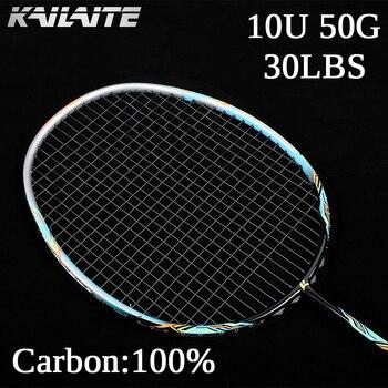 2020 Ультралегкая профессиональная ракетка для бадминтона из углеродного волокна 50 г 10U, сверхлегкая графитная ракетка с веревкой 22-30 фунтов ...