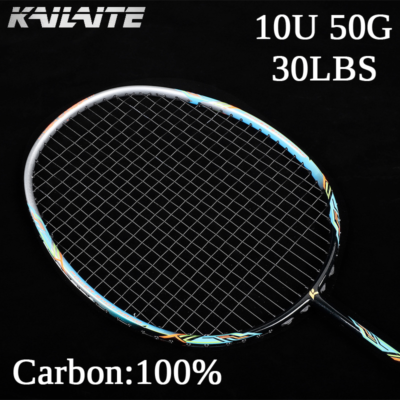 2020 Ultralight 50g 10U Professional Carbon Fiber Badminton Racket Super Lightest Graphite Racquet With String 22-30LBS Adult