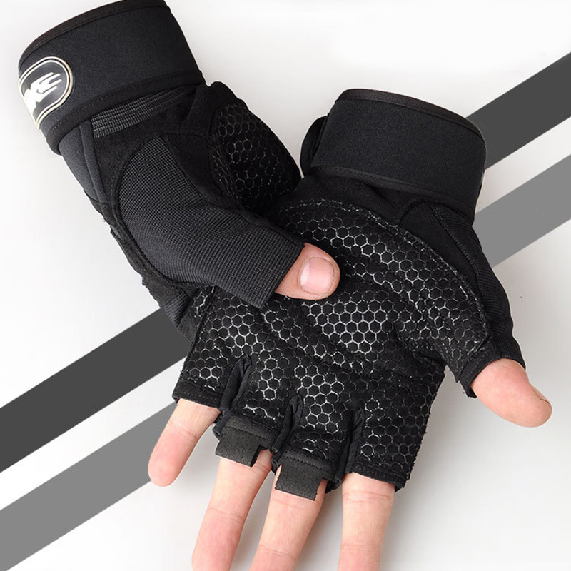 Men Fitness Heavyweight Training Gloves Bodybuilding Half Finger Gloves Non-Slip Extended Wrist Support Weightlifting Sports