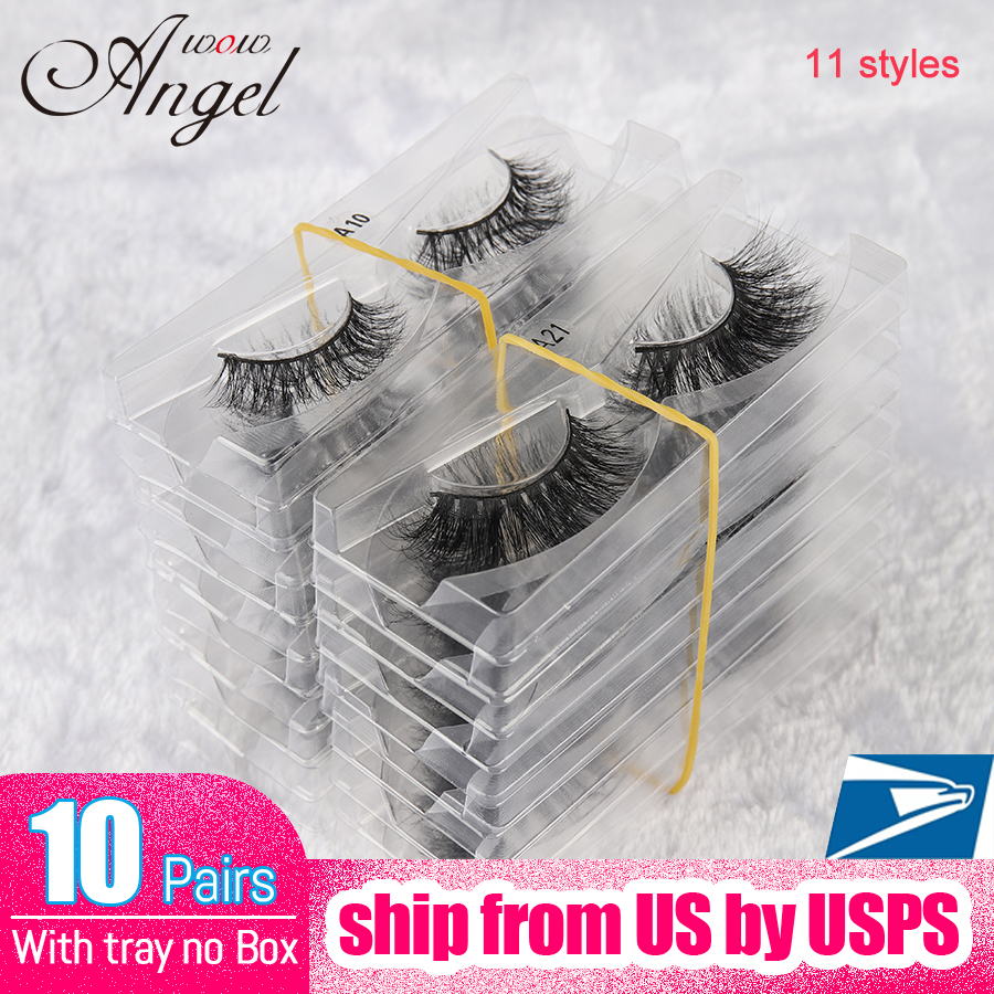 WOWANGEL <font><b>10</b></font> <font><b>Pair</b></font> Wholesale No Box 3D Mink <font><b>Eyelashes</b></font> Light Volume Natural Lashes Fake <font><b>Eyelashes</b></font> 11 Styles Makeup Cilios image