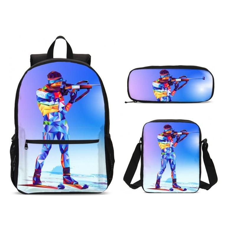 Olympique tir motif impression sacs d'école pour enfants 3 pièces/ensemble cartable sac à dos étudiant primaire livre sacs garçons Cool cartable