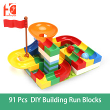 91pcs Run Blocks Marble Race Compatible Duploed Educational Baby Toys Big Size Block Funnel Slide DIY Building Block Toys marble run blocks compatible duploed building blocks funnel slide blocks legoinglys train car diy bricks toys for children gift
