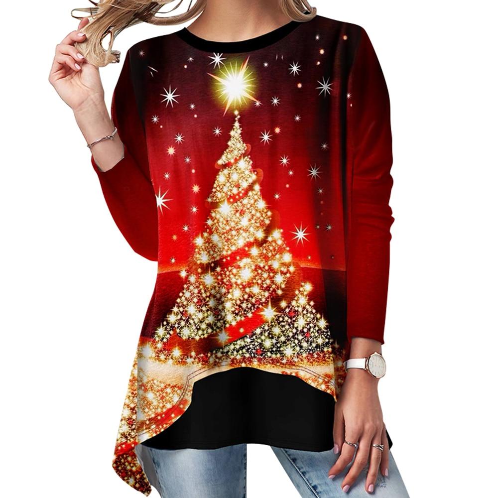 Christmas T Shirt Women Tee Christmas Tree Printed Ladies Tops T-shirt Casual Long Sleeve Shirts Women Tshirt Camiseta Mujer D30