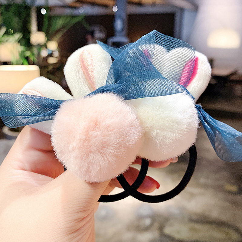 New Women Girls Cute Rabbit Shape Hairball Elastic Hair Bands Ponytail Holder Sweet Scrunchie Headband Fashion Hair Accessories