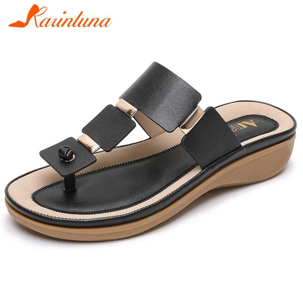 KARINLUNA 2020 New Ladies Summer Casual Beach Flip Flop  Comfortable Wedges Women Flip Flop Unique Platform Women Shoes