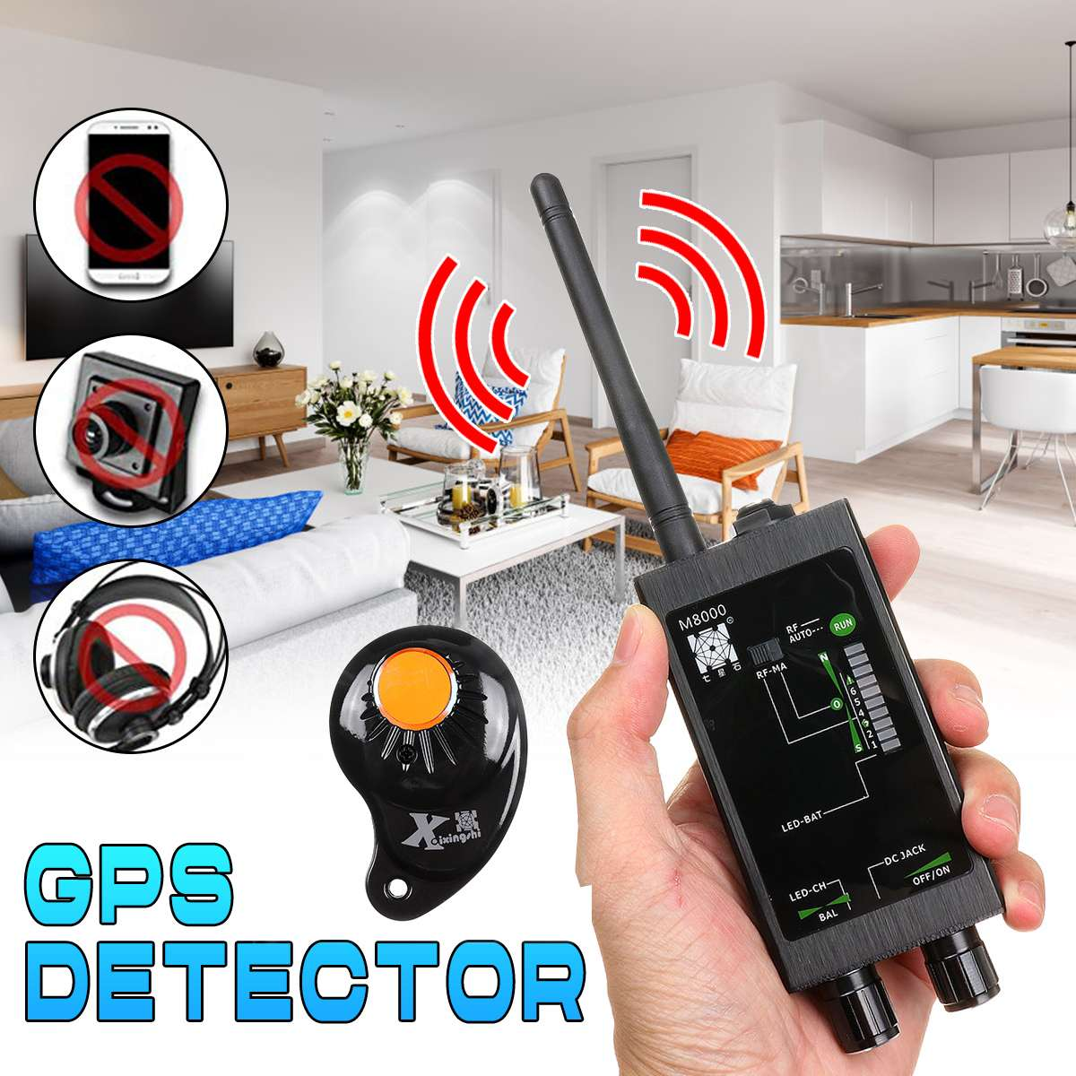 1Set M8000 Signal Detector Wireless RF Signal Detector Anti-spy Candid Camera GSM Audio GPS Scan Finder-Privacy Protect Dropship