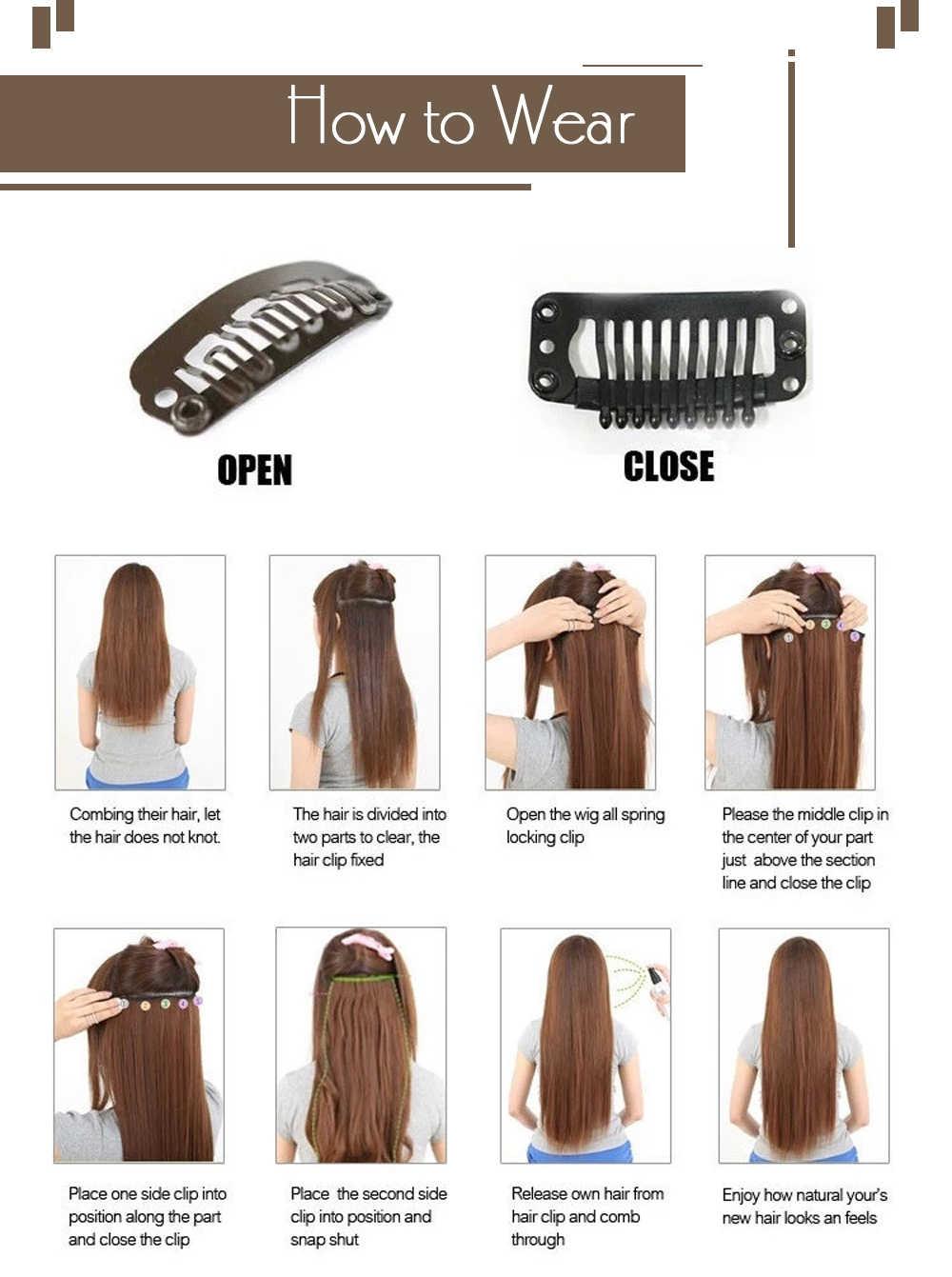 Moresoo קליפ שיער טבעי תוספות שיער הארכת מכונה רמי גולת כותרת ombre צבע 7 חתיכות 120 גרם\אריזה שיער קליפים