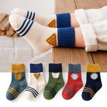 5 Pairs/lot Children Cotton Socks Autumn Winter Spring Kids Boys Girls Warm Mid Socks Cartoon Stripe Sports Socks