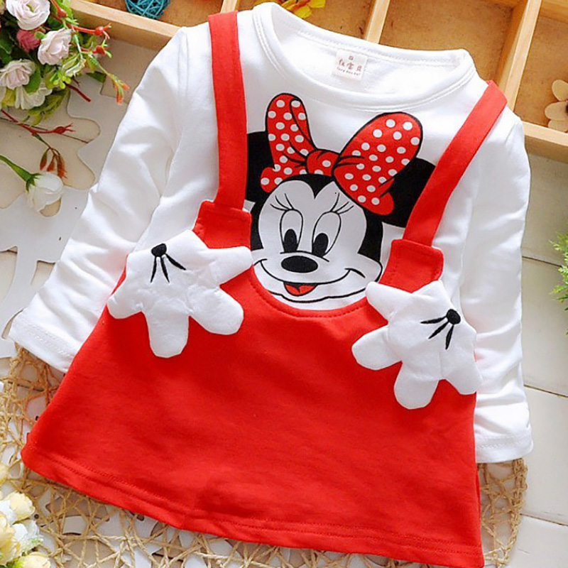 2018  New Listing  Summer Baby Girls Cotton Cartoon Fashion Dress Minnie Handbag Clothing Kids Princess Dresses Casual Clothes