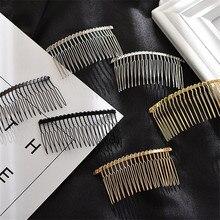 10 pçs moda estilo metal liga ferro pentes de cabelo base em branco 12/15/20 dentes para cabelo feminino pente casamento para fazer jóias