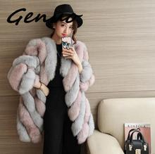 Genuo New Winter Women High Imitation Stripe Faux Fur Coat Jacket Fur Coat Women Nine Quarter Sleeve Fox Fur Coat Plus Size 4XL plus size stripe faux twinset dress