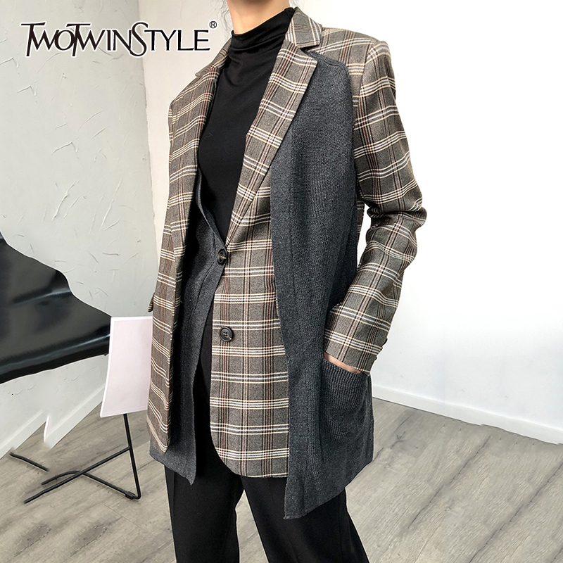 TWOTWINSTYLE Patchwork Knitted Plaid Blazer For Female Notched Collar Long Sleeve Irregular Suit Women Autumn Winter Fashion New