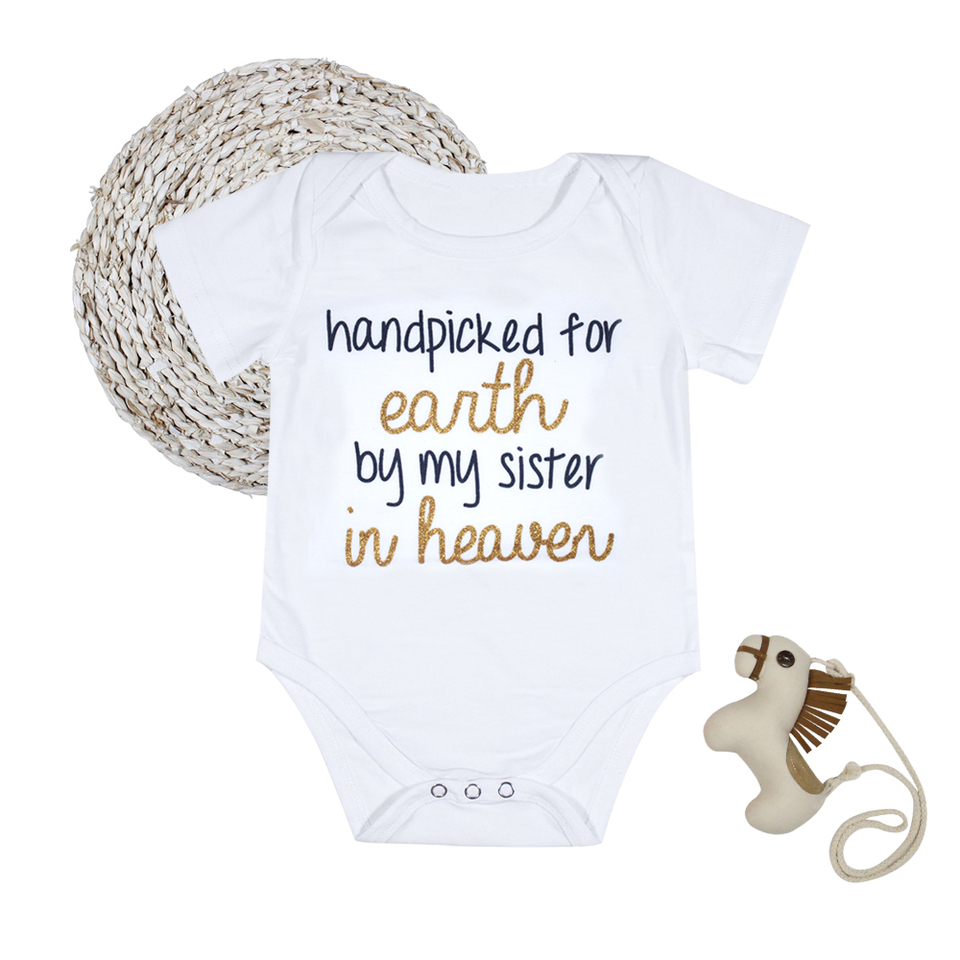 Hand Picked For Earth By My Sister In Heaven Baby Grow Bodysuit Vest
