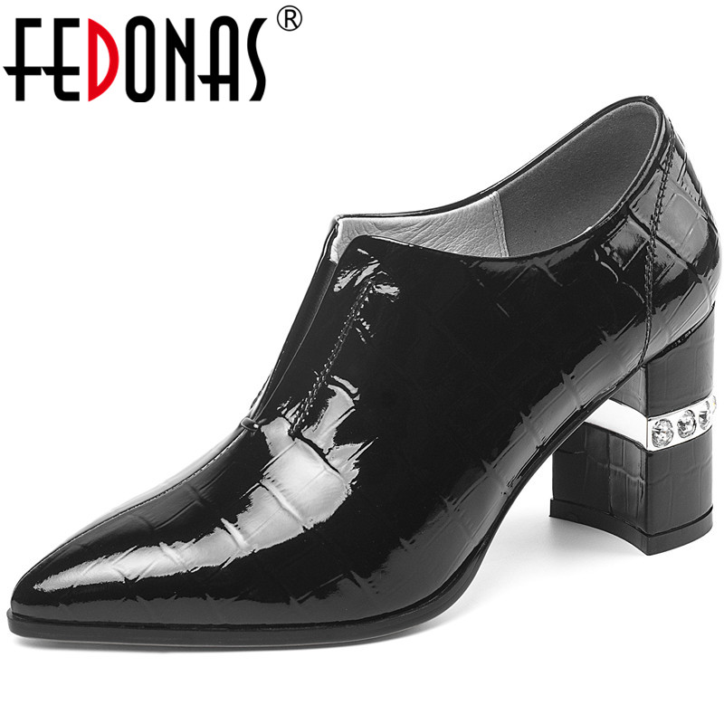 FEDONAS New Classic Vintage High Heels Pumps Women Spring Summer Rhinestone Pumps Patent Leather Point Toe Brand Shoes Woman