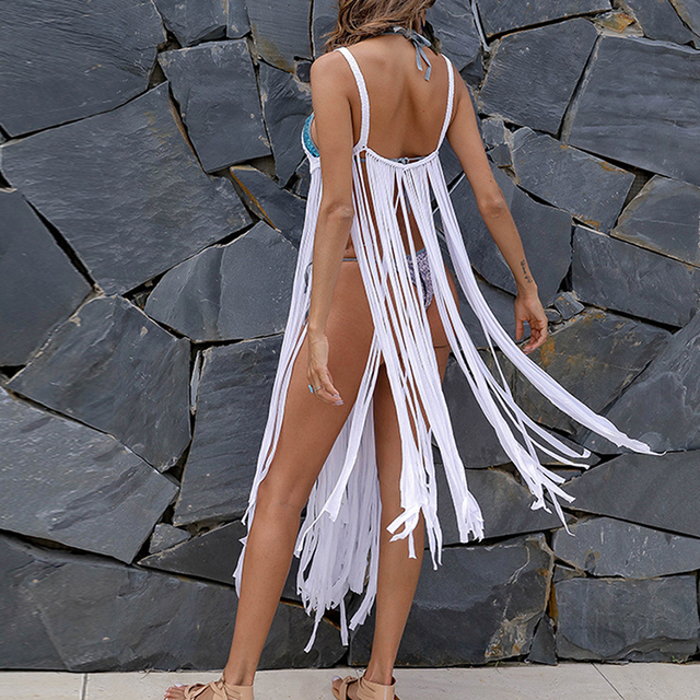 Handmade white bikini cover ups