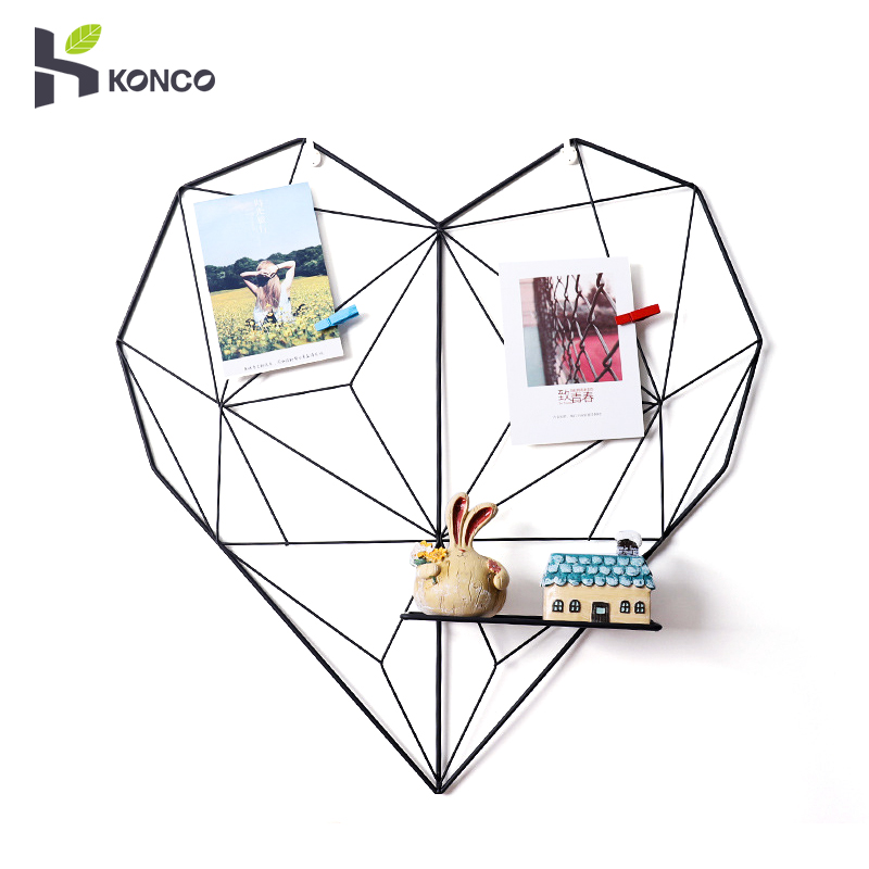 Konco INS House Decor Iron Heart shaped Storage Rack Nordic Grid Photo Wall Home Wall Photo Props Bedroom DIY Decoration|Decorative Shelves| |  - title=